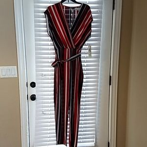 Almost famous striped jumpsuit w/ tie belt size L